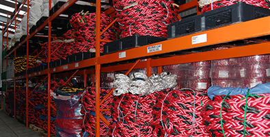 Bails of marine rope in Fendercare warehouse